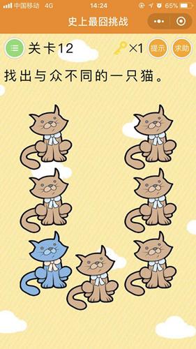 微信史上最囧挑战第12关,找出与众不同的一只猫[多图]图片1