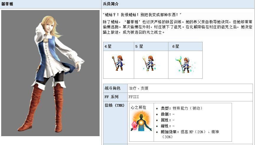 最终幻想勇气启示录蕾菲雅怎么样?蕾菲雅技能属性详解图片1