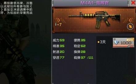 CF手游M4A1指挥官属性数据详解[图]